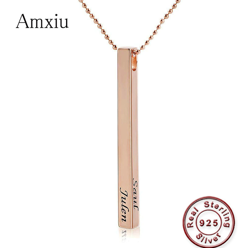 Amxiu Custom Silver Bar Pendant Necklace Engrave 1 4 Names Necklace for Women Men Accessories Daily Jewelry Personalized Gifts
