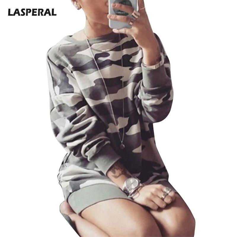 LASPERAL Women Medium Long Section Camouflage Printed Training Sweaters Sweatshirts Female Long Sleeve O-Neck Shirts Sports Suit