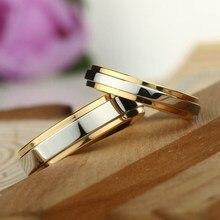 Anel de casamento de aço inoxidável do anel da aliança do casal do design simples da cor do ouro 4mm 6mm anel da faixa da largura
