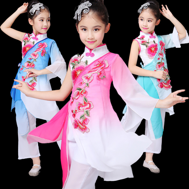 8f1ba5569 Girls Chinese Traditional Dance Costume for Stage Child National Folk Fan Dance  Clothing Umbrella Oriental Dancer Wear Show 89