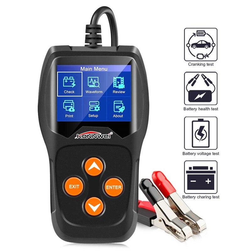 12 V Automotive Carga Do Carro Testador de bateria Analisador de Bateria Digital Bateria Bateria Do Veículo Ferramenta de Diagnóstico Scanner Multi Línguas