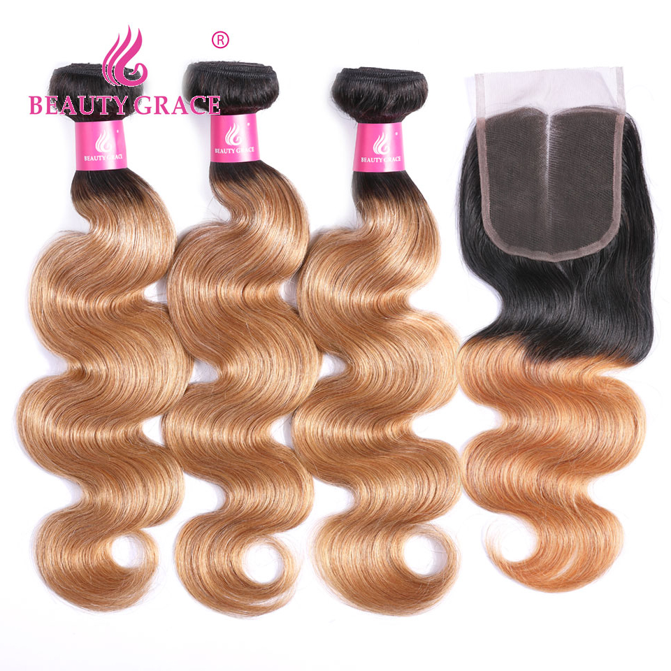 3 Bundles With Closure Brazilian Body Wave Human Hair Bundles With Closure Ombre Weave 1b 27