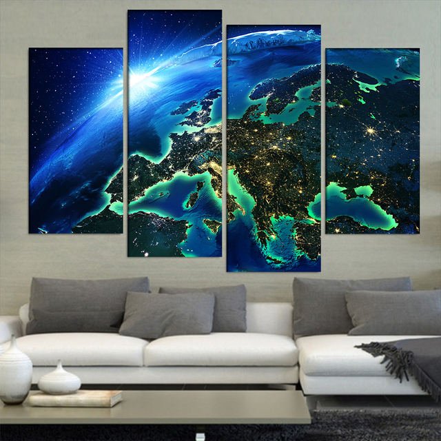 Frames Paintings Decor 4 Panel Europe In Map From E Canvas Art Prints Wall Picture For