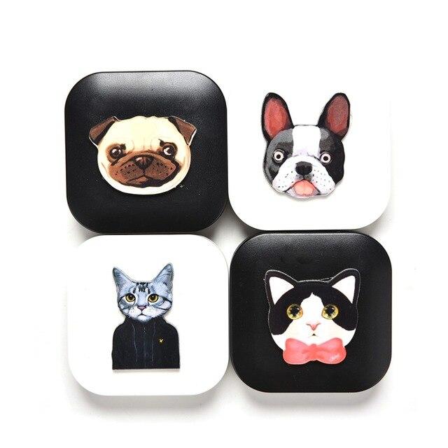 Impressão Do Gato Do Cão dos desenhos animados Caso de Lentes de Contato Bonito Caixa de Titular Caso Recipiente Para Lentes Cor Dos Olhos