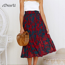 купить 2019 Pleated Midi Skirt Print Floral Polka Dot Skirt Pocket Dark Blue Girl Summer Autumn Pleated Skirt eDressU CLX-101082 онлайн