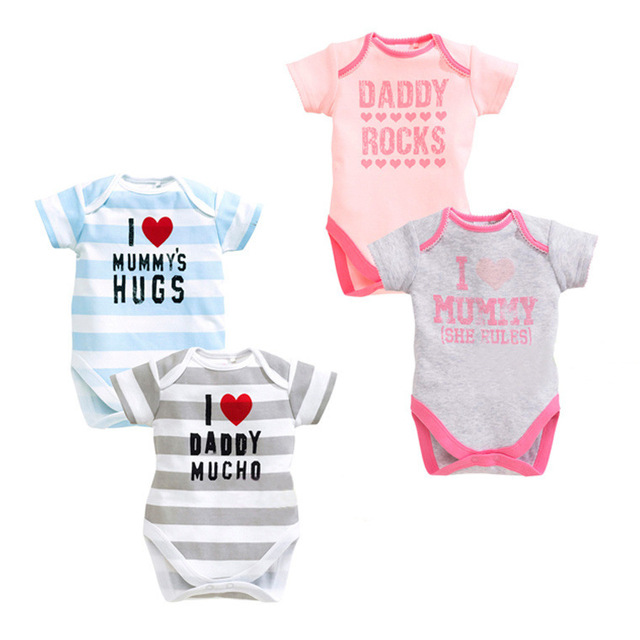 7d4e7c7a 100% COtton 2017 New style Love daddy mummy Short sleeve Summer rompers  Baby boy girls toddler clothing jumpsuits