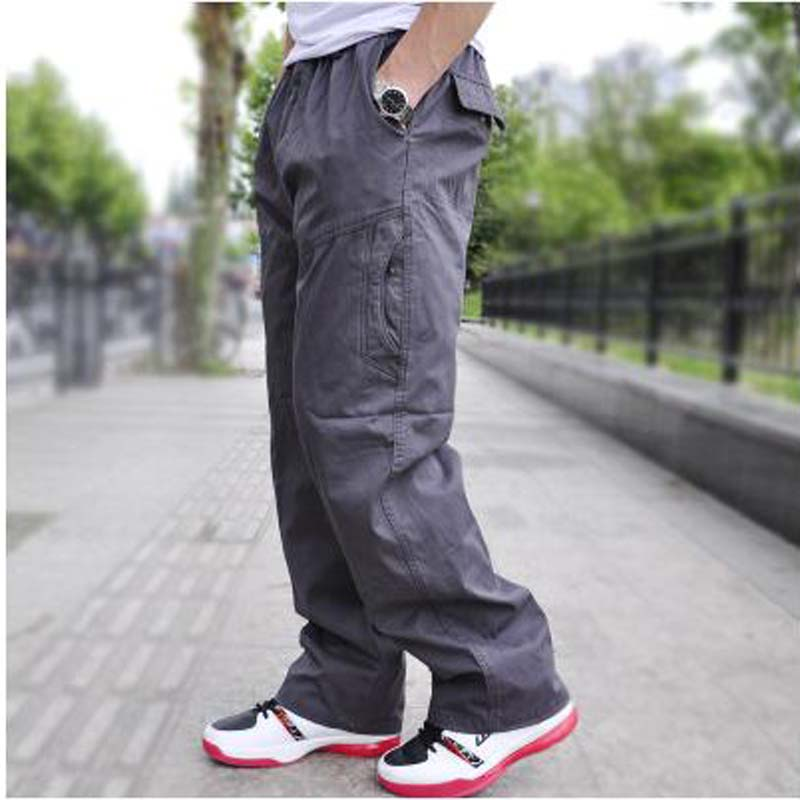 Autumn Winter Men Pants Big Size Loose Cargo Pants lard bucket Male Men's Trousers Causal Long Trouser XXXXXXL