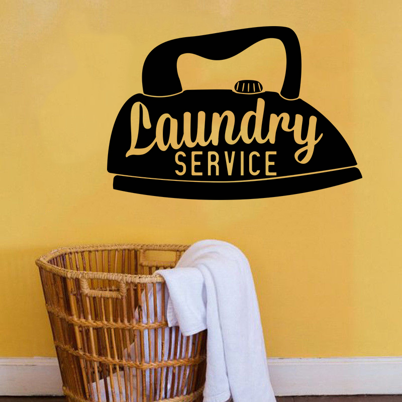 Vinyl Wall Decal Laundry Room Service Wall Stickers Home ... on Room Decor Stickers id=60621