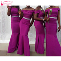 Purple Mermaid Black Girl Bridesmaid Dresses Boat neck Off the shoulder With Beading elegant Wedding Guest dress  Z1277