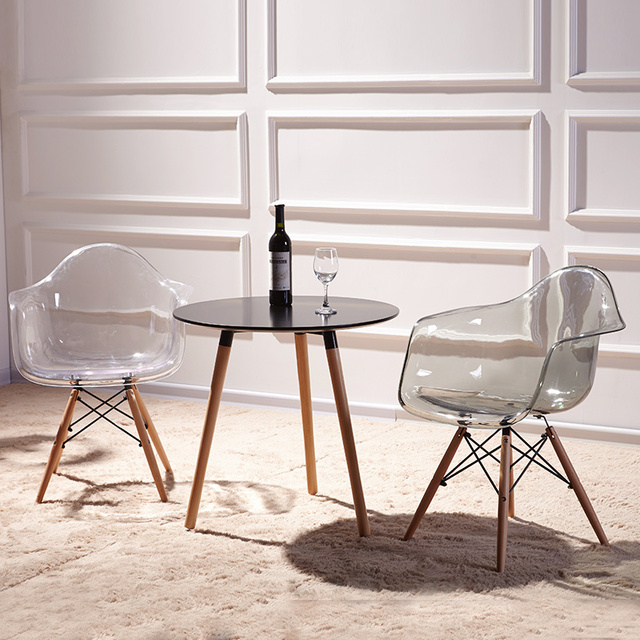 Set Of 2 Modern Transparent Chair Armchair Natural Wood Legs Eiffel Dining  Room Chair Wooden Arm