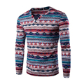 Red Blue Purple Slim Printed Polo Male V-Neck Long Sleeve Multicolor Pullovers Men Fashion National Polo Shirt Youth Palace Tops