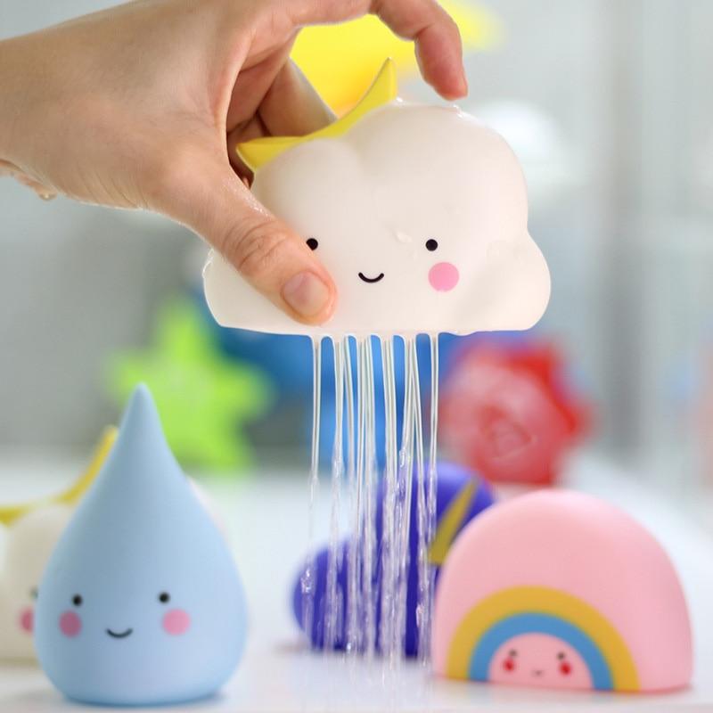 4pcs/set Baby Bath Water Toys Cute Cartoon Rainbow Cloud with Moon Bathroom Bathtub Shower Toys Baby Play Water Game Beach Toys baby toys
