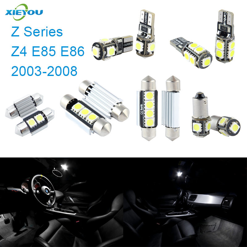 XIEYOU 9pcs LED Canbus Interior Lights Kit Package For BMW Z Series Z4 E85 E86 (2003-2008) free shipping 11x vw golf 5 gt 2003 2008 white led lights interior package kit canbus 107