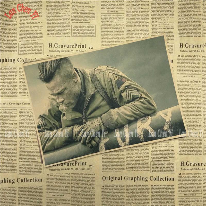 II wojny światowej filmów Fury nostalgiczne matowy papier pakowy plakat prezent biurowy jadalnia wystrój domu naklejki ścienne projekt