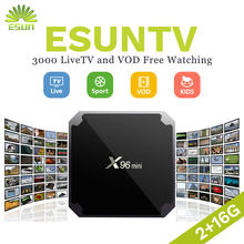 ESUN-TV X96 Mini Europe US UK SPAIN CANADA Germany EX-YU Albania XXX 4000 live channels VOD Months EPG Romania italy 1/3/6/12(China)
