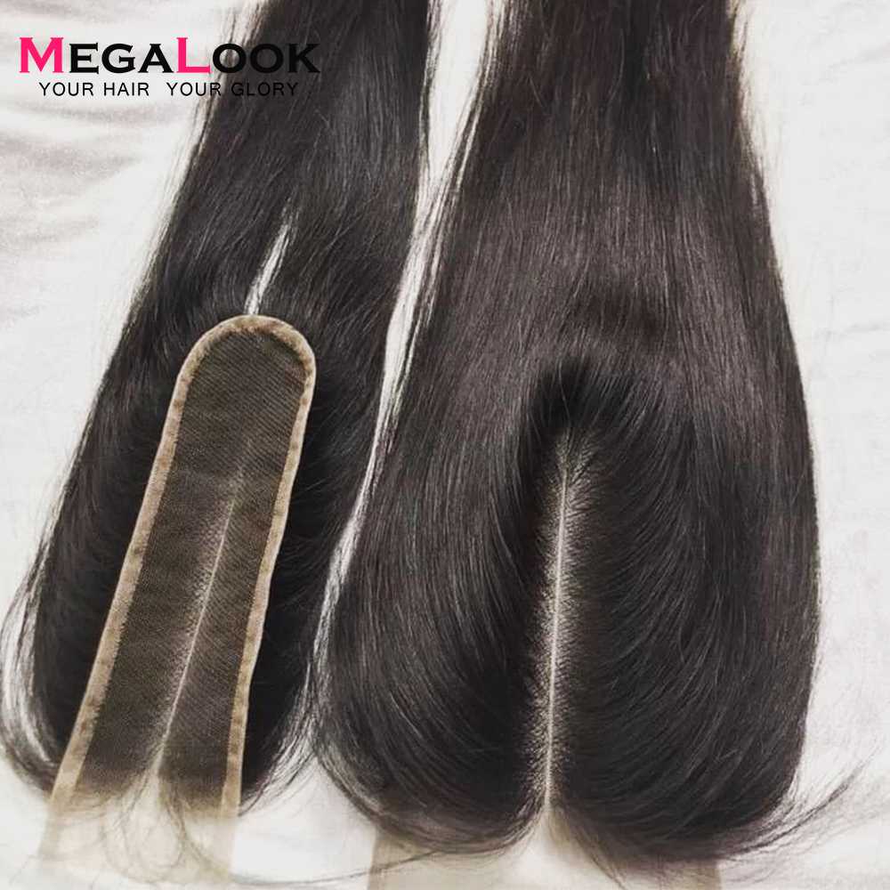 Megalook 2X6 Closure Human-Hair Lace Middle-Part Remy Kim K Straight Natural-Color Brazilian