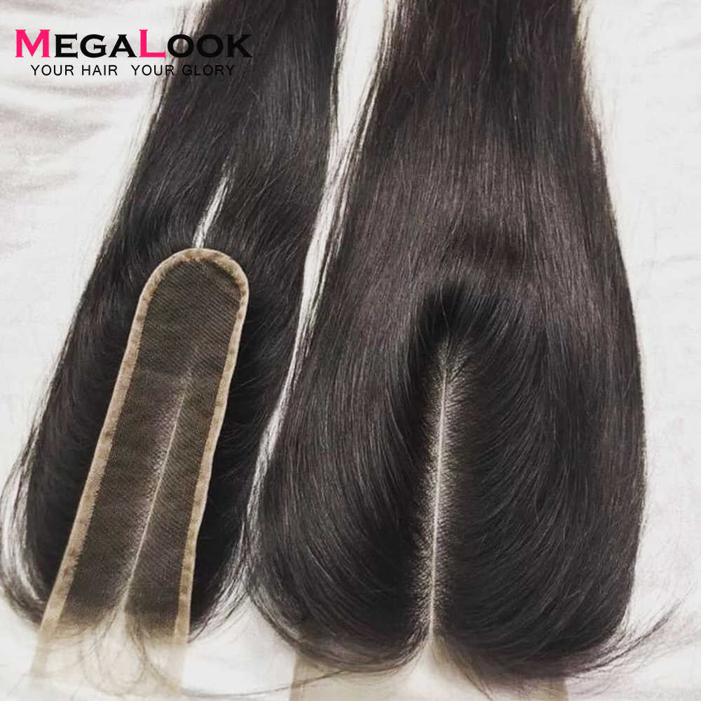 Megalook 2X6 Closure Kim k Closure Human Hair Closure 2*6 lace Straight Remy Brazilian Natural Color Middle Part