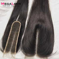 Megalook 2X6 Verschluss Kim k Menschliches Haar Verschluss 2*6 spitze Gerade Remy Brasilianische Natürliche Farbe mittleren Teil