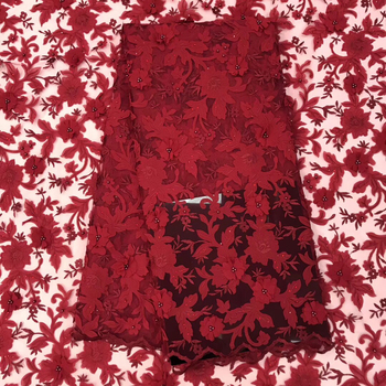 Red/White French Lace Fabric 3D Flowers Embroidered African Tulle Lace Fabric With Beads African Lace Fabric For Wedding LJ2351