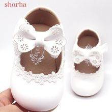 Короткие белые кожаные туфли для маленьких девочек; обувь для девочек с бантом; удобные тонкие туфли; кружевные вечерние туфли для детей 1-3 лет