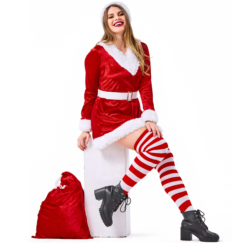 Velvet Red Woman Santa Claus Christmas Dress Costumes Suit Cosplay For Christmas Party Cosplay Plus Size