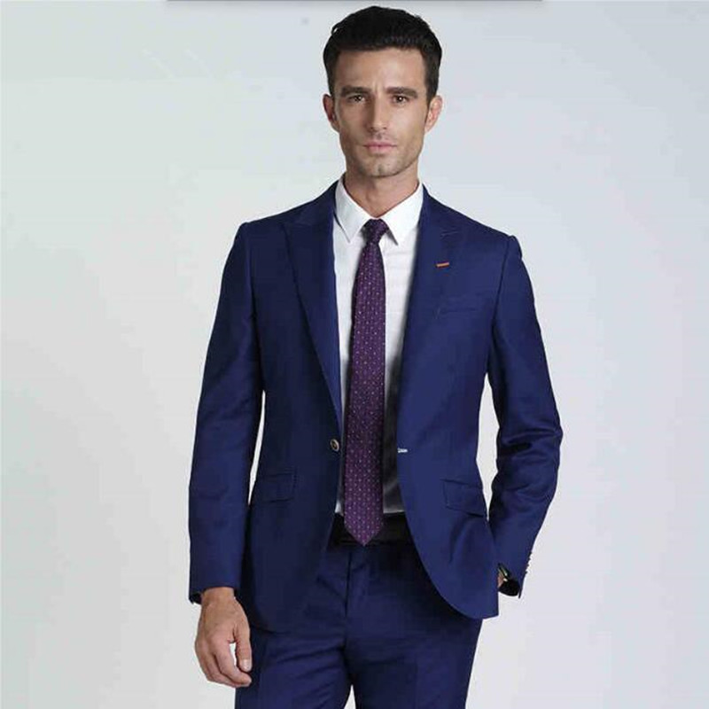 ٩(^‿^)۶new Men\'s Suits Custom Made stylish Blue Wedding suits ...