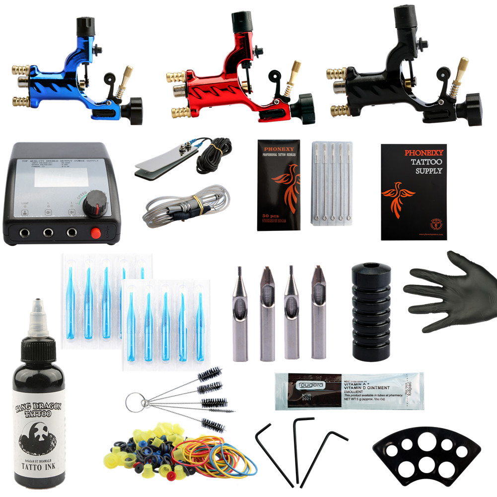 Beginner Tattoo Starter Kits 3 Rotary Tattoo Machines Guns 60ml Black Ink Power Supply Needles Top Tattoo Ink Free Shipping 2018 women messenger bags vintage cross body shoulder purse women bag bolsa feminina handbag bags custom picture bags purse tote