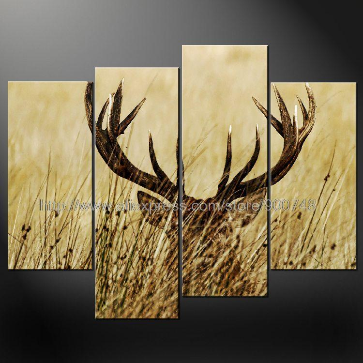 Aliexpresscom Buy Deer Sunset Cascade Modern Many Sizes Free - Abstract painting on canvas ideas
