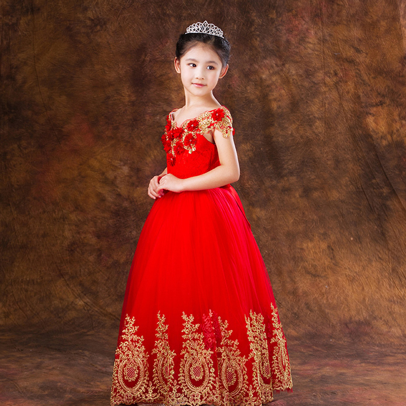 Red Lace Embroidery Appliques Dress Baby Girls Ball Gown Dress Prom Party Summer 2017 Fashion Flower Girls Dress For Wedding P07 girls embroidery detail contrast lace hem dress