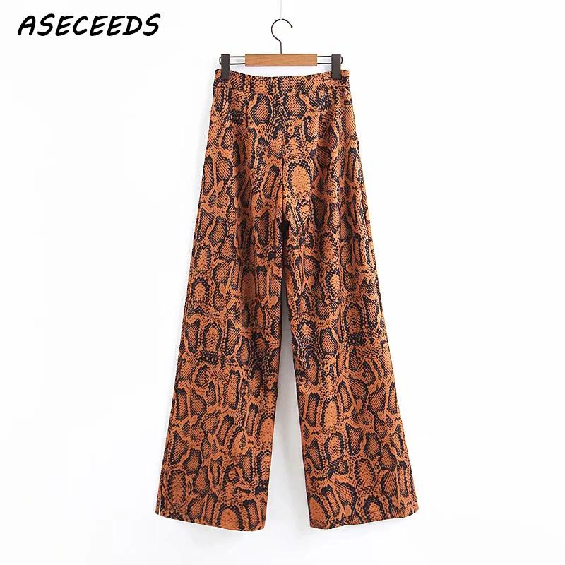 Fashion Snake Pattern print   Wide     Leg     Pants     Pants   women Retro zipper high waist   pants   Street loose hip hop   pants   female Trousers