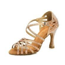 Women Ballroom Latin Dance Shoes Black Brown Salsa Tango Bachata Dance Shoes Cuba Heel 9cm Suede Sole VA45