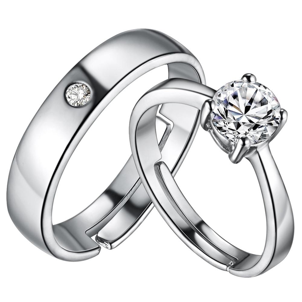 Пары обещание Кольца Сияющий белый цвет, кубический циркон Свадебные Кольца для Для мужчин и Для женщин серебристо-красивый Обручение вече...