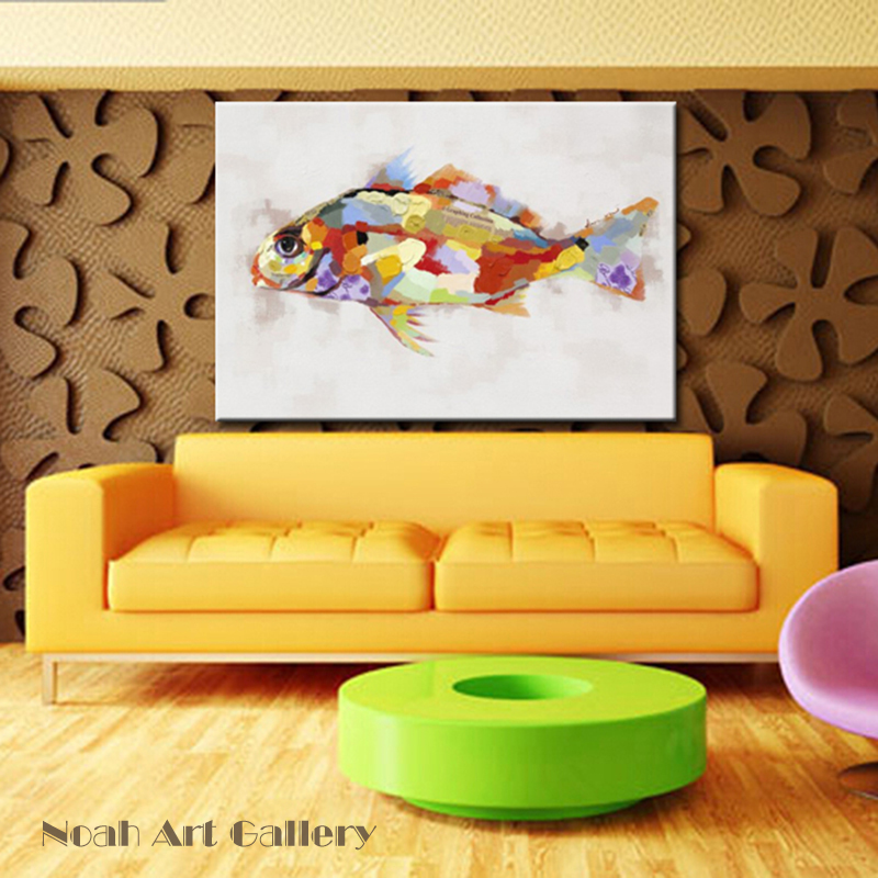 Hand Painted Colorful Fish Oil Painting Animal Canvas Wall Art ...