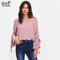 Dotfashion Pearl Bow Tied Flounce Sleeve Blouse 2017 Pink Round Neck Ruffle Woman Top Long Sleeve