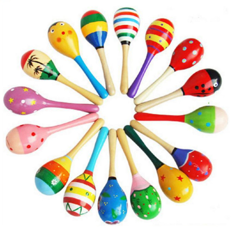 Multicolor Wooden Maracas Early Childhood Education Rattles Toy Musical Instruments For Infant