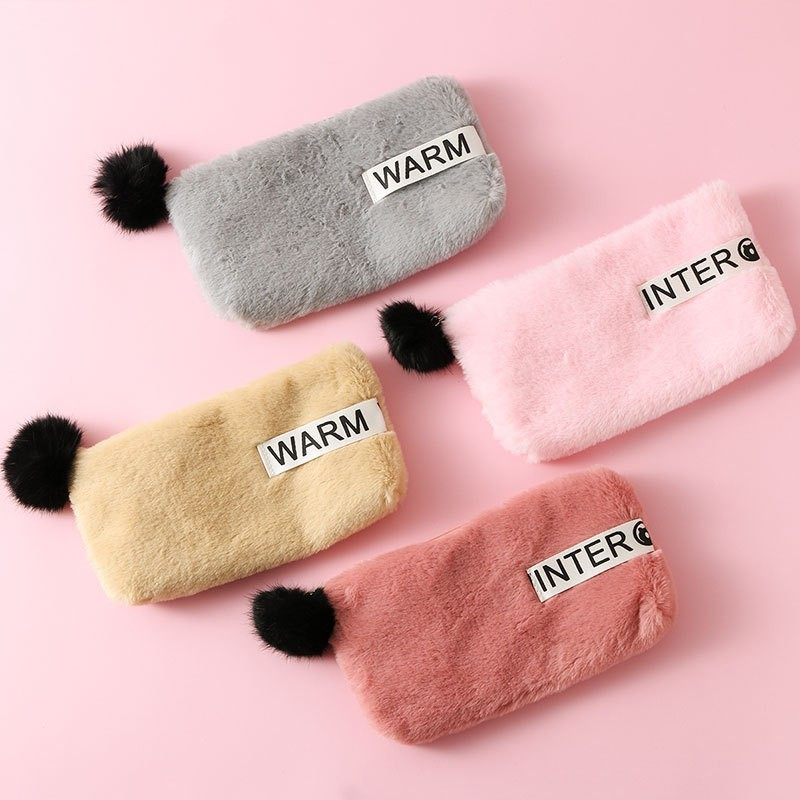 Cute Candy Color Plush Big Pencil Case For Girls Kawaii Pencil Box