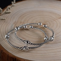 FNJ 925 Silver Simple Bangle New Fashion Adjustable Size Original S925 Sterling Silver Bangles for Women Men Jewelry