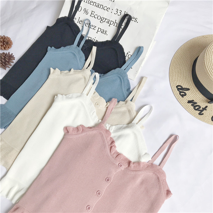 new fashion women summer thin vest short design autumn sleeveless sweater outerwear spring single breasted solid ruffles basic