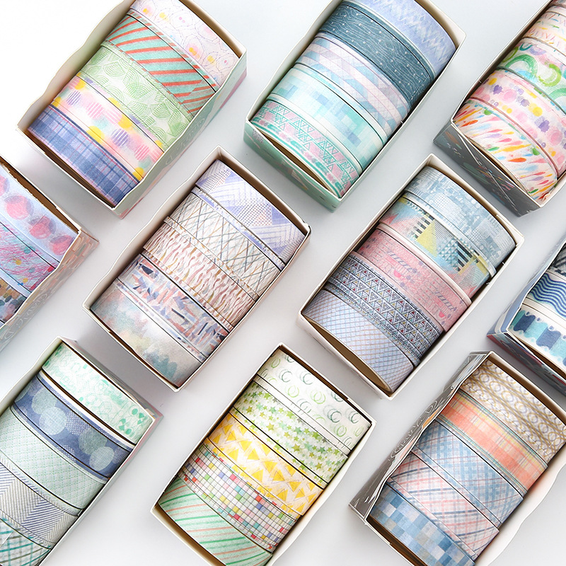 9pcs/pack Unknow Planet Geometry Washi Tape Diy Decorative Scrapbooking Masking Tape Adhesive Tape Set Label Sticker