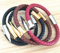 2017 New Aliexpress Amazon Selling Real Leather Bracelet Bangle For Men Leather Bracelet Titanium Steel Nail