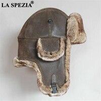 LA SPEZIA Leather Bomber Hat Men Fur Warm Winter Soviet Ushanka Hat Russian Brown Ski Cycling Earflap Male Trapper Hat