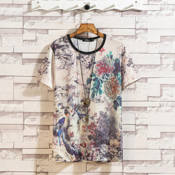 Koszulka z krótkim rękawem mężczyźni 2020 lato wysokiej jakości Tshirt koszulki 3D drukuj marka modne ciuchy Plus rozmiar M-5XL 6XL 7XL O NECK tanie i dobre opinie Lance Donovan O-neck Topy Tees WSY-T177 Suknem COTTON SILK Chiński styl