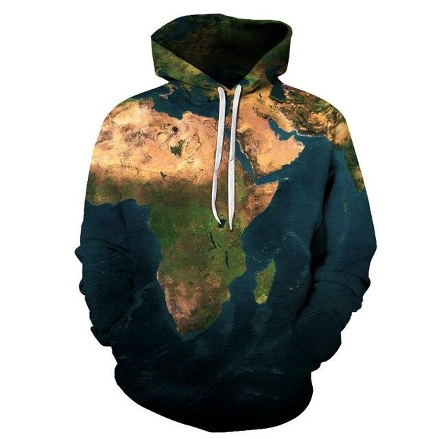 3D baskılı Dünya Haritası Tişörtü Toprak kazak ilkbahar ve sonbahar Komik hoodies Erkek Dünya Haritası Giyim MenHoody Adam 2019 yeni