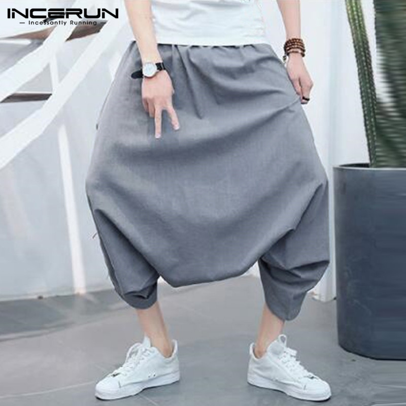 Incerun Plus Größe S-5xl Männer Harem Hosen Baggy Solide Drop Gabelung Mode Hosen Männer Streetwear Hip-hop Casual Pantalon Hombre Elegantes Und Robustes Paket