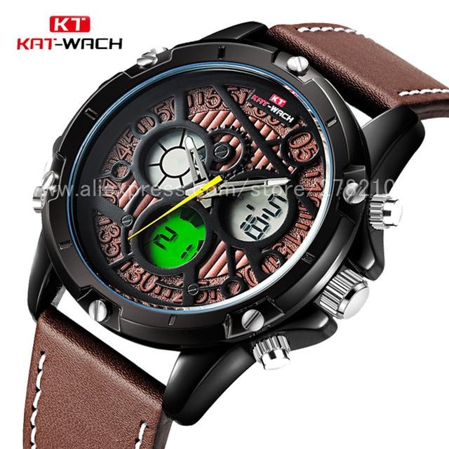 c4427c41e KAT-WACH Dual Display Sport Watches Men Luxury Brand Waterproof Outdoor  Military Digital Watch Male