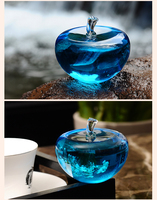 Aqua Rare Crystal Glass 80mm Apple Model Figurines Paperweights natural stones and minerals Photo Customized Crystals Home Decor