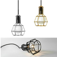 Classic Retro Pendant Lamp Iron Cage Lampshade E27 LED Vintage Lights Lamp Warehouse Style American Country