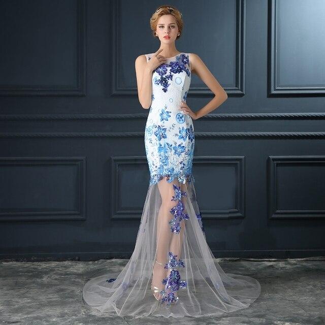 2017 robe de soirée de porcelana Azul y blanca de noche de la novia ...