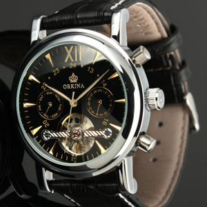 Image 5 - ORKINA Classic Day Date Calendar Automatic  Tourbillon Brown Leather Strap Analog Mens Mechanical Watch Rose Gold Montre Homme