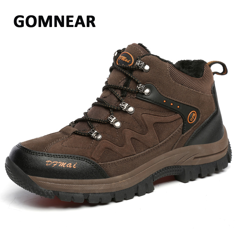 GOMNEAR Big Size Fur Winter Warm Shoe Men Hiking Climbing Sports Sneakers Breathable Comfortable Boots Damping Antiskid Sole winter men s anti slip warm outdoor high top hiking sports boots fur shoes men army wearable climbing sneakers shoes camping